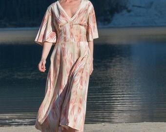 Ethnic Dress, Boho Dress, Summer Dress, Hippie Dress, Beige, Orange Dress With Kimono Sleeves, Long Summer Dress, Maxi Dress, Maxi Dress