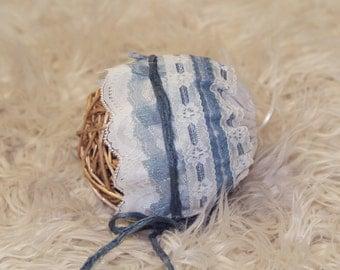 Vintage Inspired Baby Bonnet - NEWBORN - Blue & Off white, Newborn Baby Bonnet, Fabric Baby Bonnet, Lace Bonnet, Baby Bonnet, Photo Prop