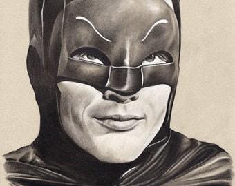 Adam West Batman - Original Framed Charcoal Drawing