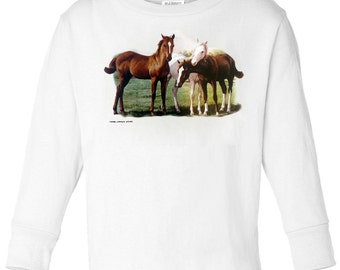 Toddler / Kids Equestrian Shirt - Long Sleeve T-Shirt with Three Foals - Spring Horse Clothing for Children