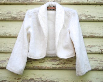 Vintage 70s Cropped Jacket White Faux Fur Vegan Boho Retro Blazer Vtg 1970s Size XS-S