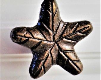 SET of 2 Antiqued Copper Leaf Star Knobs