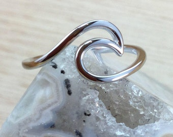 Silver Wave Ring Sterling Silver Beach Boho Jewelry FREE Shipping Codes FREE Gift Box Below Mermaid Jewellery Ocean Themed Sea Beach Jewelry