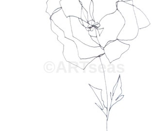 "ORIGINAL Abstract Minimalist Drawing ""Blume Series""; Botanical Drawing, Flower Drawing"