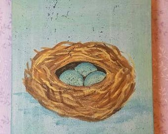 Bird Nests, Eggs, Rustic, Distressed, Wall hanging, sign, Gift idea,Spring, Primitive, Wedding, Birthday,nature,cottage chic,wood,Wall decor
