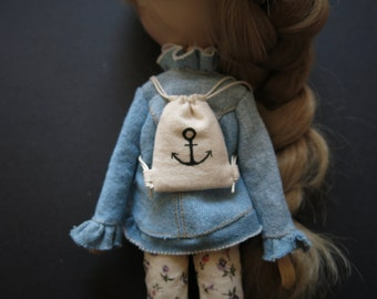 Anchor Canvas Drawstring Backpack for Pullip/Blythe/J-Doll/Momoko/Obitsu