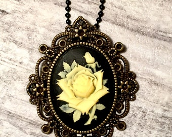 Rose Cameo Necklace, Black and Yellow Rose Pendant, Victorian Style Cameo Pendant, Victorian Necklace, Steampunk Cameo Jewelry