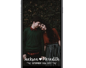 Personalized Custom Wedding Snapchat Geofilter Bride and Groom Names and Wedding Date