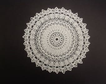 Crochet Doily White Cotton 13 inch READY TO SHIP