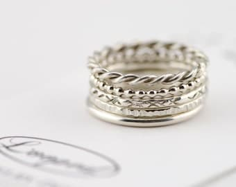 Sterling Silver Stacking Ring Hammered Spacer Ring Set