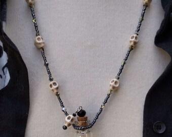 Hematite & Skulls Essential Oil Bottle Necklace, Glass Bottle Necklace, Memory Necklace