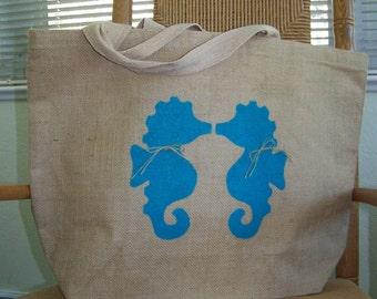 Beach tote, Kissing seahorses tote bag, Burlap tote bag, Seahorse tote bag, Large tote bag, Free shipping