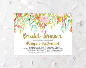 Spring Floral Bridal Shower Invitation Printable Pink and Gold Bridal Invite Hen's Night Out Bachelorette Party Girl's Night Out 117