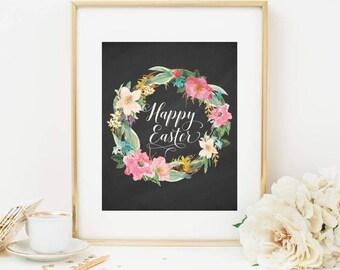 Happy Easter Printable Spring Floral Wreath Easter Decoration Pink Floral Easter Decor Easter Quote Prints Chalkboard Watercolor Flowers