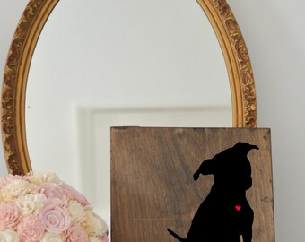 Handpainted Pitbull Silhouette on Stained Wood, Dog Decor, Dog Painting, Gift for Dog People, New Puppy Gift, Housewarming Gift