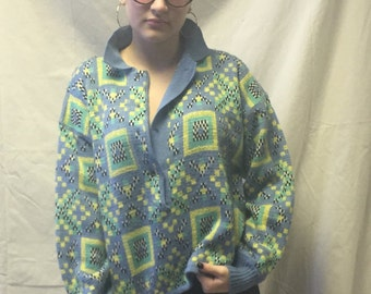 Vintage Union Bay 80s Hi Lo Geometric Sweater
