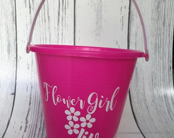 Personalized Beach Pail, Personalized Bucket, Personalized flower girl Bucket, Flower Girl Gift, Monogrammed Beach Bucket, ring bearer pail
