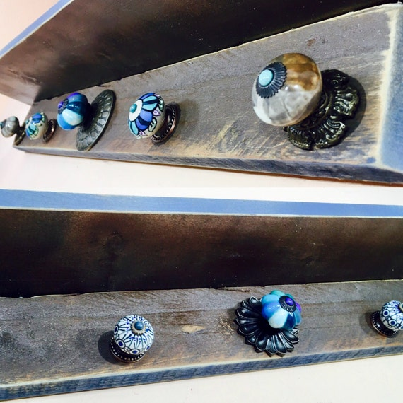 Rustic farmhouse shelf /floating nightstand/ wall hanging vanity pallet shelves /wooden shelving bedroom decor 5 blue hand-painted  knobs