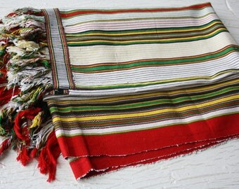 Table cloth Striped tablecloth Woven tablecloth Fringe Bright tablecloth Kitchen decor Large woven table runner Scandinavian Textile Finland