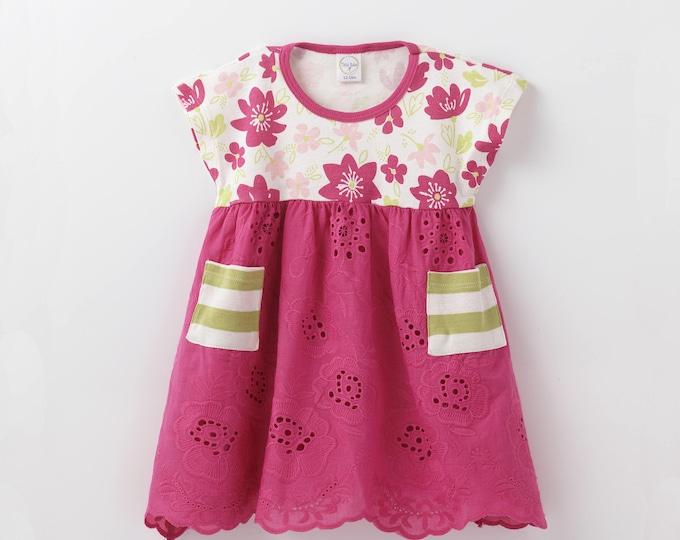 SUMMER SALE! Baby Girl Lace Dress, Baby Girl Summer Dress, Toddler Girl Eyelet Dress, Pink Floral Toddler Dress DR73EFMFU1000