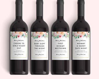 New Mom Gift Wine Labels (Set of 4) Mother's Day Gift Mommy Milestones™ Baby Shower Gift Idea Wine Fun New Mommy Gift Weatherproof