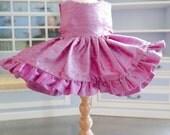 Rose Pink Dupioni Silk Ruffled Dress fits 18 inch American Girl Dolls
