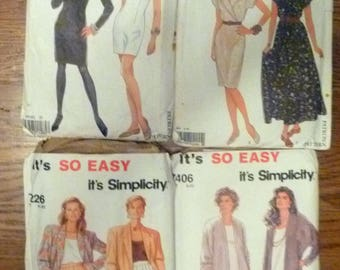 """Lot of 4 Simplicity """"it's so easy"""" Patterns for ladies sz 8-20 2 are for dresses and 2 are for suites pants and skirt"""