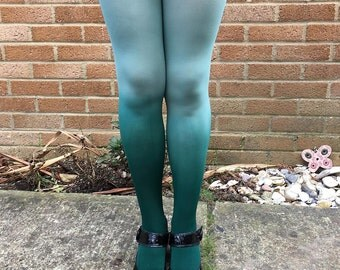 Kendall Mint Macaroon Green Ombre Dip Dye Lingerie Tights