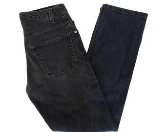 Vintage Levis Black Denim 505 Regular Fit Jeans Size 31 x 31