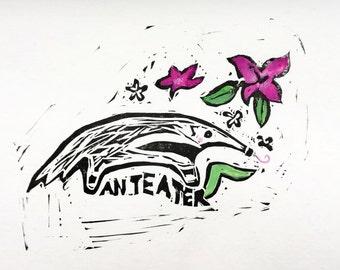 Anteater Linoprint, A6 - Handprinted original - Illustration - Gift