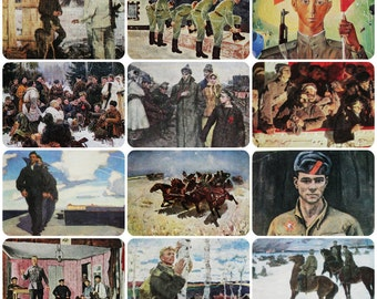 Soldiers of the Red Army, Military Soviet army - Set of 12 Vintage Soviet Postcards - Printed in the Soviet Union 1960s-1970s. Uniform Print