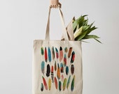 Feathers Tote Bag, Canvas Tote Bag, Fair Trade, canvas bag, feather, shoulder bag, shopper, feather print, gift for her, tote bag for women