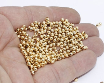 100 Pcs 3mm Shiny Gold Plated Beads , Gold Plated Round Beads, Mini Round Beads, Spacer Beads, gpb,  BRT647