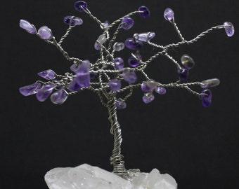 Wire tree sculpture, gemstone tree, amethyst tree, wire wrap tree, miniature tree, wire tree of life, amethyst birthstone gift