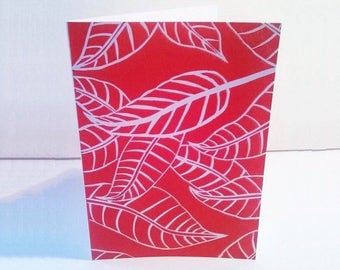 Hand printed linocut card, Fallen leaves, Handmade greeting cards, Modern art, Birthday card, Thank you card, Art cards, red autumn leaf