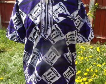 Large Deep Purple and White Embroidered Collar Tie Dye Short Sleeve Shirt