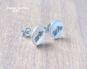 SALE Motorcycle Earrings - Motorcycle Jewelry - Gifts for Bikers - Silver Disc Earrings - Tiny Stud Earrings - Silver Stud Earrings