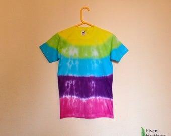 Rainbow stripes hippie tie dye t-shirt (size small)