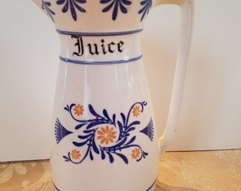"Vintage ""Heritage"" Royal Sealy Juice Pitcher; (Blue Onion Look); Japan"