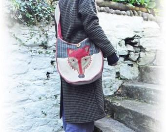Fox Bag, Folk Crossbody Bag, Rustic Messenger Bag, Upcycled Bag, Woodland Bag, Hobo Unique Bag, Repurposed Bag, Recycled Eco Friendly Bag