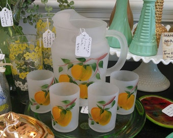 Vintage Hazel Atlas Frosted Hand Painted Peaches Juice Glasses + Pitcher!