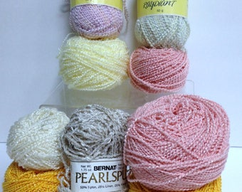 Vintage Yarn Bundle Eaton Lady Fair Radiant Yarn Bernat Pearlspun Yarn Plus Sparkling Wavey Yarn Cakes, 9 Pce Fiber Art Yarn Destash Crafts