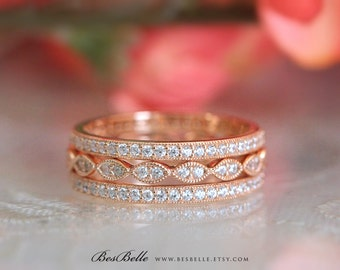 Three Milgrain Eternity Set Ring-1.62 ct.tw Brilliant Cut Pave Set-Art Deco Stackable Ring-Rose Gold Plated-Sterling Silver [65360MRGE-3]