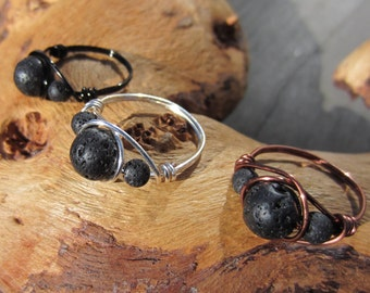 Aromatherapy Ring, Lava Rock Stone, Sterling, Basalt, Diffuser Jewelry, Wire Wrapped Ring, Essential Oil, Silver, Copper, Gifts for Her.