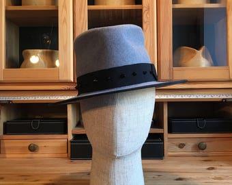 Mens Hat, flat brim trilby hat, Fedora Hat