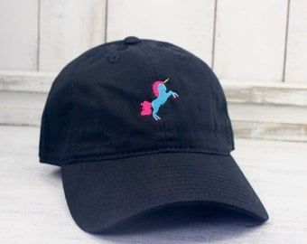 Unicorn  Dad Hat Embroidered Baseball Cap Curved Bill 100% Cotton