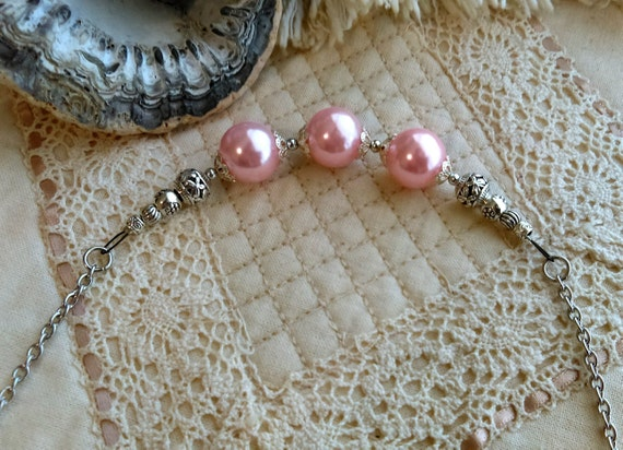 Pink Pearl Bead Chain Necklace, Stainless Chain, 3 Colours Choice, Purple, Blue, Pastel Pink Acrylic Pearls, Tibetan Silver Beads,