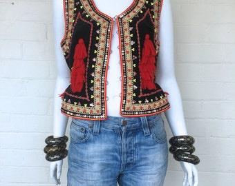 Vintage Black Velvet Beaded Tassel Folk Vest//Festival Hippie Woodstock Bohemian Ethnic Gypsy Vest