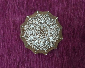 Mandala motif wooden stamp, henna stamp, fabric stamp,  hand carved indian wood printing block, tjaps
