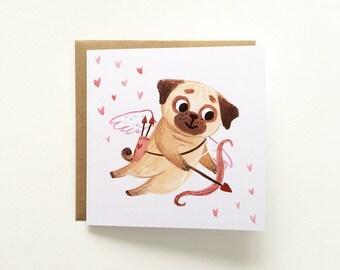Pug Card - Valentine's card, Anniversary card, Boyfriend card, Girlfriend card, Dog lover, Cute greeting card, Love, Just because